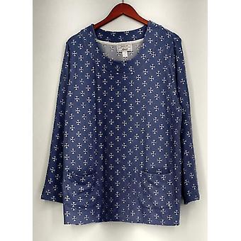Carole Hochman Petite floral trykt Hacci Sleepshirt blå A297476
