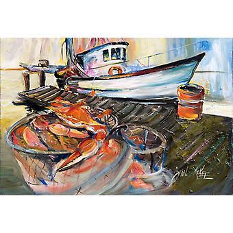 Carolines Treasures  JMK1104PLMT Blue Crab Trap Fabric Placemat