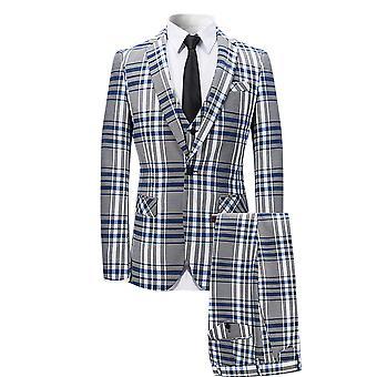 Alle Themen Men's 3-teilige Anzüge Plaid Business Casual Blazer & Weste &Hose