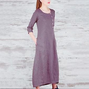 Casual Loose 3/4 ermet rundt halsen lang kjole