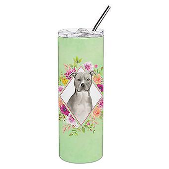 Blue Pit Bull Terrier Green Flowers Double Walled Stainless Steel 20 oz Skinny T