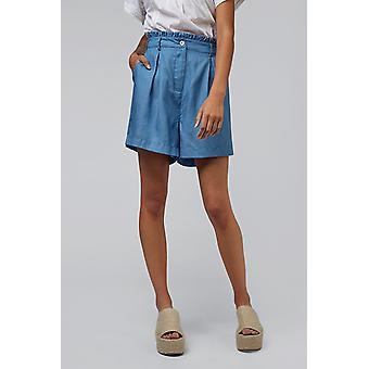 Louche Alda Chambray Paper Bag Waist Shorts Chambray