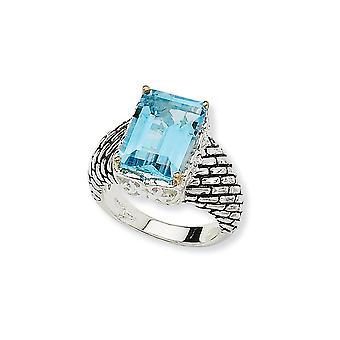 925 Sterling Zilver Met 14k 9.48Sky Blauwe Topaas Ring Sieraden Cadeaus voor Dames - Ring Maat: 6 tot 8