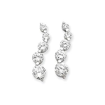 925 Sterling Silver Polished Post Earrings Rhodium plated CZ Cubic Zirconia Simulated Diamond Journey Earrings Jewelry G