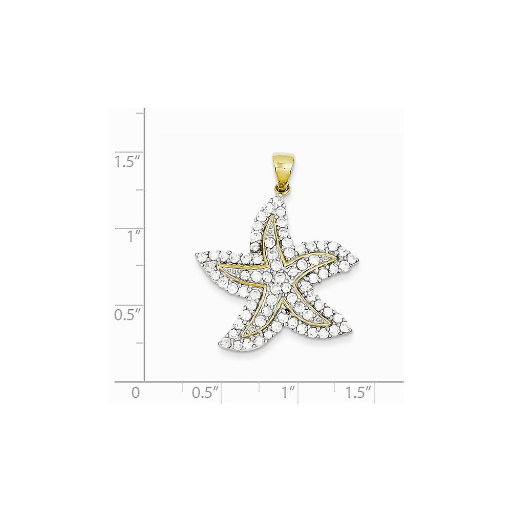 925 Sterling Silver Polished Rhodium plated Gold Flashed and CZ Cubic Zirconia Simulated Diamond Sea shell Nautical Star