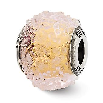 925 Sterling Silver finish Italian Murano Glass Reflections Italian Yellow Textured Glass Bead Charm Pendant Necklace Je