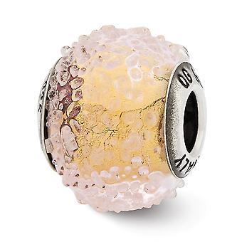925 Sterling Sølv Italiensk Murano Glass Refleksjoner Italiensk Gul Teksturert Glass Perle Sjarm Anheng Halskjede Smykker G