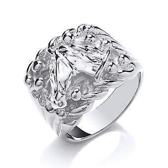 Jewelco Londyn Mens Rhodium Plated Sterling Silver Rope Edge Keeper Horse Head Signet Ring