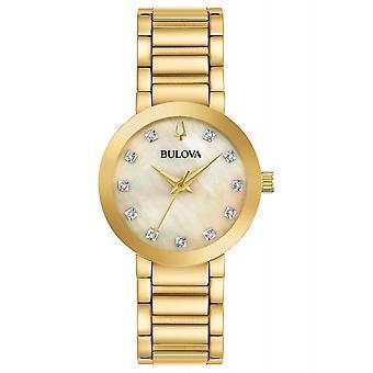 بولوفا 97P133 السيدات الذهب لهجة الماس ساعة اليد