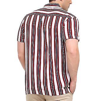 Tapfere Seele Herren Biologie Kurzarm Button Down gestreiftshirt Top - weiß/Multi