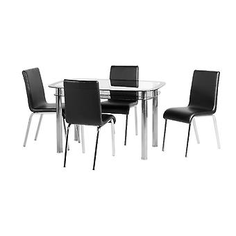 Harlequin 4-apos; Dining Set Clear Glass/black Border/silver/black Pu