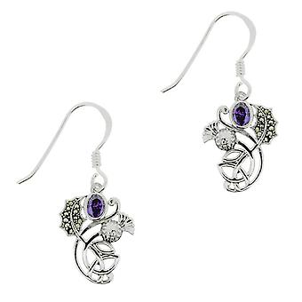 Scottish Thistle The Flower Of Scotland Drop Pair Of Earrings - Marcasite & Amethyst Colour Stones