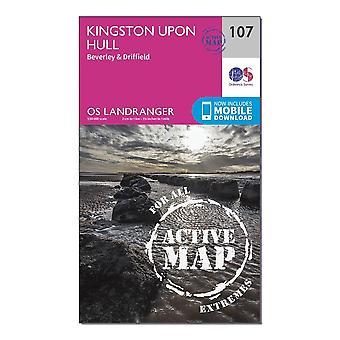 New OS Landranger Active 107 Kingston Hull  Beverley & Driffield Map Orange