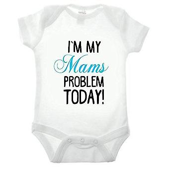 I'm my mams problem short sleeve blue text babygrow