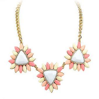 Colorful flower pastel statement swarovski crystal 18k gold plated necklace