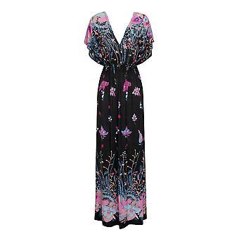 Pistachio Women's Black Floral Print V Neck & Back Maxi Dress