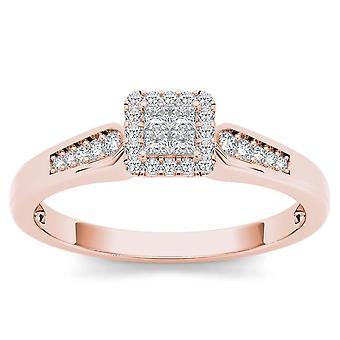 Igi gecertificeerd 10k roségoud 0,23 ct prinses geslepen diamant halo verlovingsring