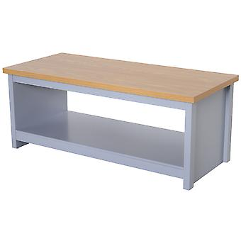 HOMCOM Coffee Table w/ Open Display Wood Effect Tabletop Retro Rustic Style Chic Living Room Storage Grey