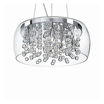 8 Light  Large Blown Glass Bubbles Ceiling Pendant Chrome