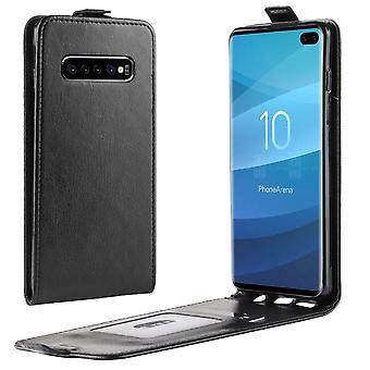 For Samsung Galaxy S10 + PLUS tilfelle svart TPU og PU skinn vertikal flip cover