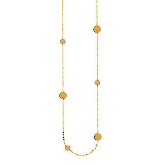 14k זהב צהוב מרוקנות ותחנות דיסק שרשרת 36 אינטש תכשיטים מתנות לנשים