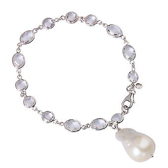 925 Sterling Silver Rhodium Plated White Topaz Dangle White Baroque Pearl Bracelet 7.25 Inch Jewelry Gifts for Women