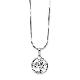 White Ice Diamond Tree Necklace 18 Inch Jewelry Gifts for Women - .010 dwt