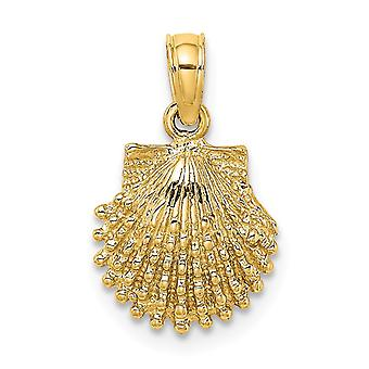 10mm 14k Gold Beaded Scallop Shell 2 d Charm Jewelry Gifts for Women