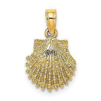 10mm 14k Guld Beaded Kammusling Shell 2 d Charm smykker Gaver til kvinder