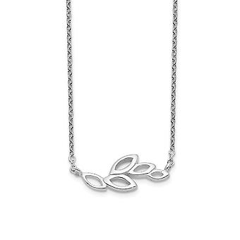 925 Sterling Silver Polished Leaves Necklace 16 Inch Jewelry Gifts for Women - 1.4 Grams