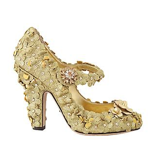 Dolce & Gabbana Gold Floral Crystal Mary Janes Pumps