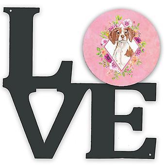Brittany Spaniel Pink Flowers Metal Wall Artwork LOVE