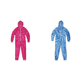 Colortone Unisex Adults Full Zip Tonal Spider Tie Dye Onesie