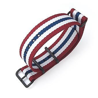 Strapcode n.a.t.o pulseira do relógio miltat 20mm, 21mm ou 22mm g10 nato pulseira de nylon balístico de nylon, pvd preto - vermelho, branco e azul