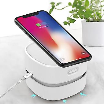 Bakeey portable desktop mini table vacuum cleaner with wireless charger iphone 11/11 pro max/xs max/xr/xs/x/8/8+ galaxy note 10/note 10+/s10/s10+/s10e