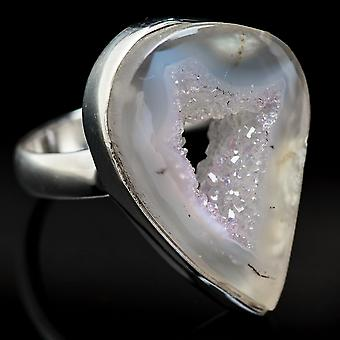 Coconut Geode Druzy Ring Size 7.5 (925 Sterling Silver)  - Handmade Boho Vintage Jewelry RING3678