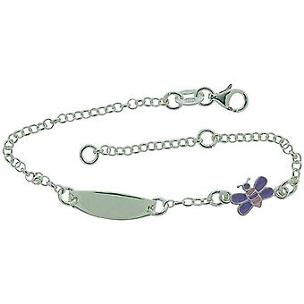 TOC Mädchen Sterling Silber lila Schmetterling Charm Armband 6 + 1