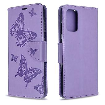 For Samsung Galaxy S20+ Plus Case, Butterflies Pattern PU Leather Wallet Cover with Stand & Lanyard, Purple