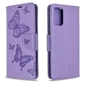 Per la custodia Samsung Galaxy S20 Plus, Butterflies Pattern PU Leather Wallet Cover con Stand & Lanyard, Purple