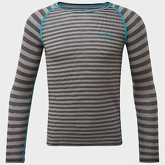 Ny Hi-Gear Kids' Stribet Merino Baselayer Top Grey