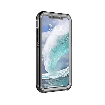 coque iPhone XS/X avec protecteur d'écran Noir/Gris