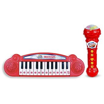 Bontempi Mini Keyboard and Karaoke Microphone Red