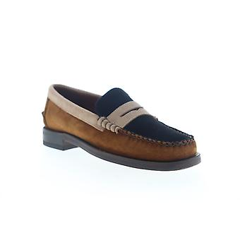 Sebago Dan Suede Tricolor Mens Brown Wide 2E Casual Slip On Loafers Shoes