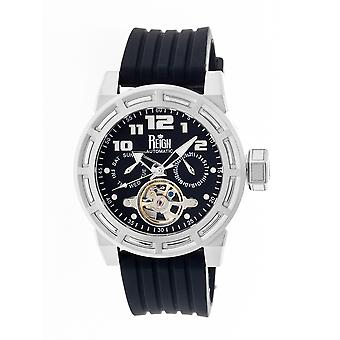 Reign Rothschild Automatic Semi-Skeleton Watch w/Day/Date - Silver/Black