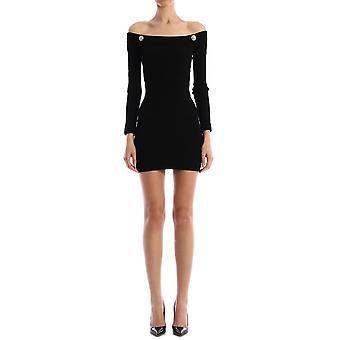 Balmain Tf06249k0630pa Damen's schwarze Viskose Kleid