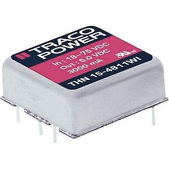 TracoPower THN 15-2425WI DC/DC omformer (utskrift) 24 V DC 24 V DC, -24 V DC 315 mA 15 W Nr. av utganger: 2 x