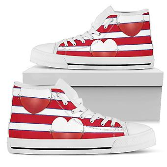 High Top Shoes | Red & White Stripes