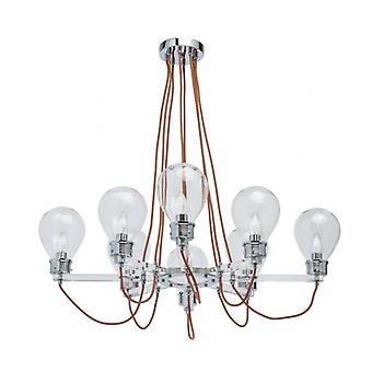 Chrome Pendant Light Loft 8 Bulbs 73 Cm