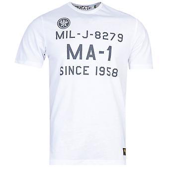 MA-1 F22 Logo Print White T-Shirt