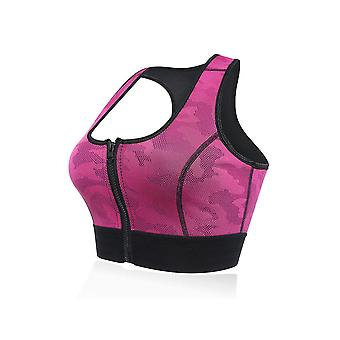 Front zipper racer back sports bra